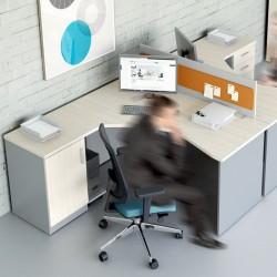 Biurko SV Eko narożne z szafką i wózkiem pod komputer