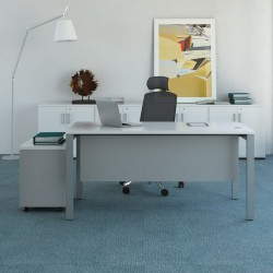 Biurko SV Art proste z  osłoną i kontenerem