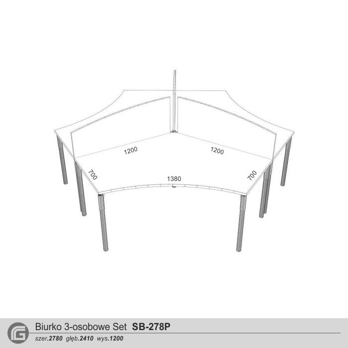Biurko Set SB-278P z przegrodami